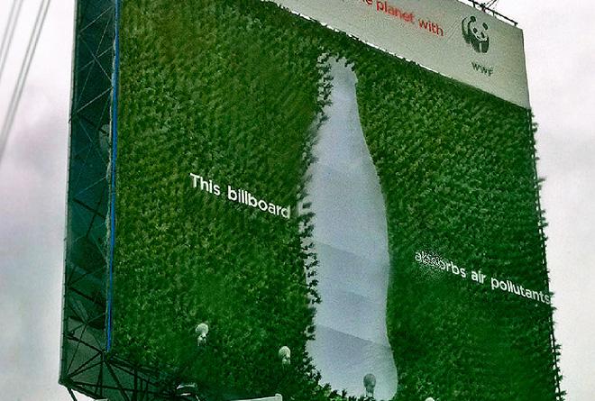 Cartel de publicidad que absorbe diu00f3xido de carbono