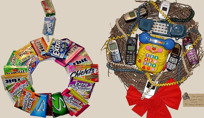Coronas de navidad resultonas con material reciclado - Objetos de navidad ...