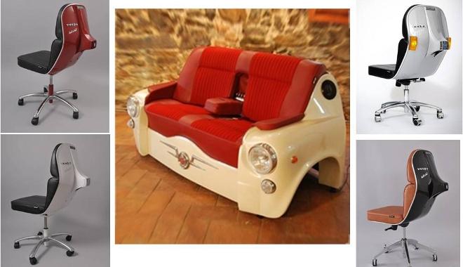 Desechos de motos coches y bicis para crear sillas y sof s for Coche con silla de auto