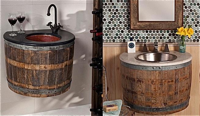Viejos barriles de vino convertidos en lavabos for Barriles de madera bar