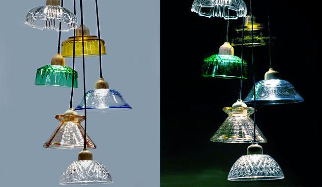 Cuencos de postre convertidos en lámparas