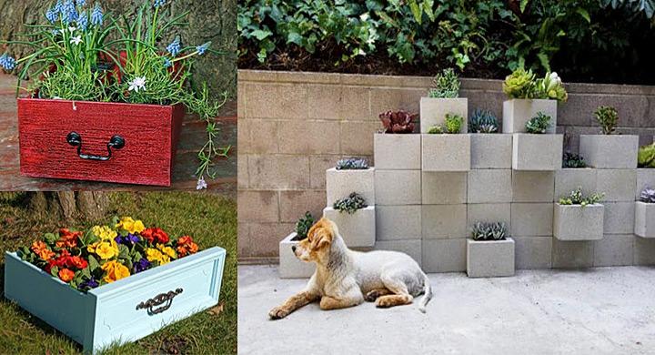 Macetas y jardineras originales con material reciclado for Jardineras con bloques de hormigon