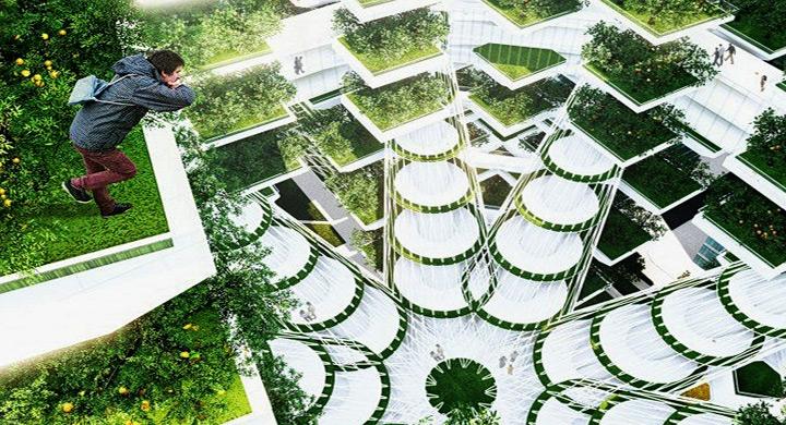 Rascacielos granja de cultivos hidroponicos