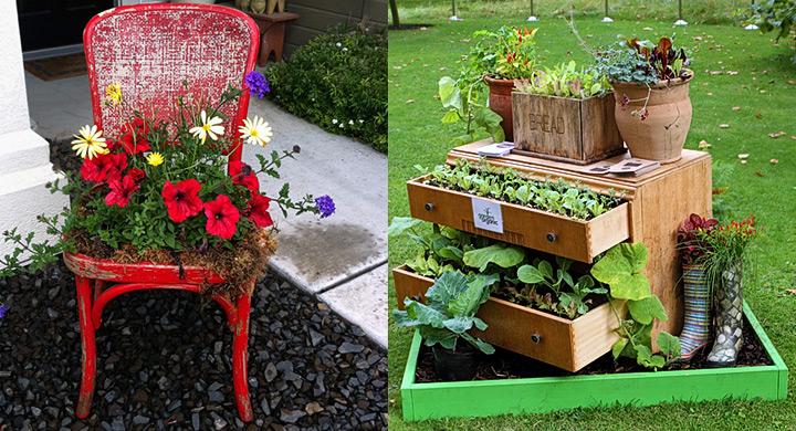 Ideas para decorar el jard n con muebles viejos for Muebles el jardin