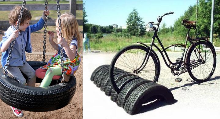 Ideas para reciclar ruedas de coche for Decoracion con ruedas