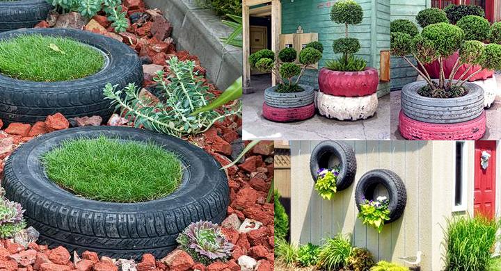 Ideas para reciclar ruedas de coche for Como hacer adornos para el jardin
