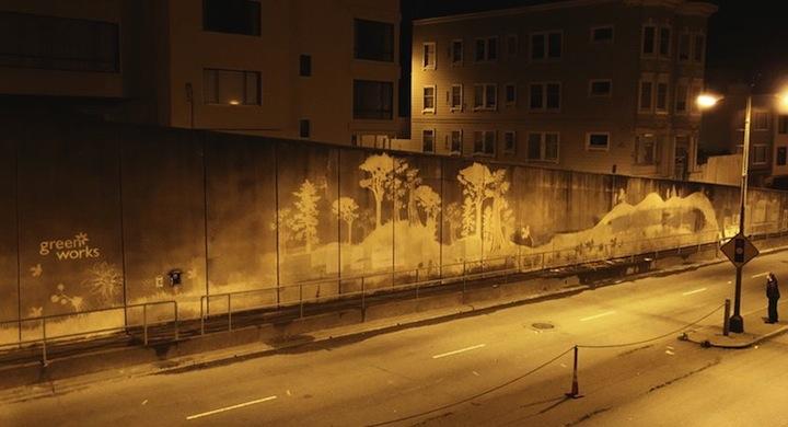 Graffiti ecologico con productos de limpieza