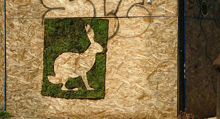 Grafiti ecologico con figura de conejo