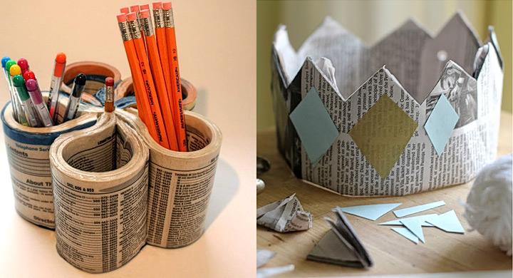 Lapicero y corona con papel de periodico reciclado