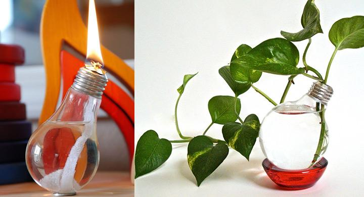 Reciclar bombillas como jarrones