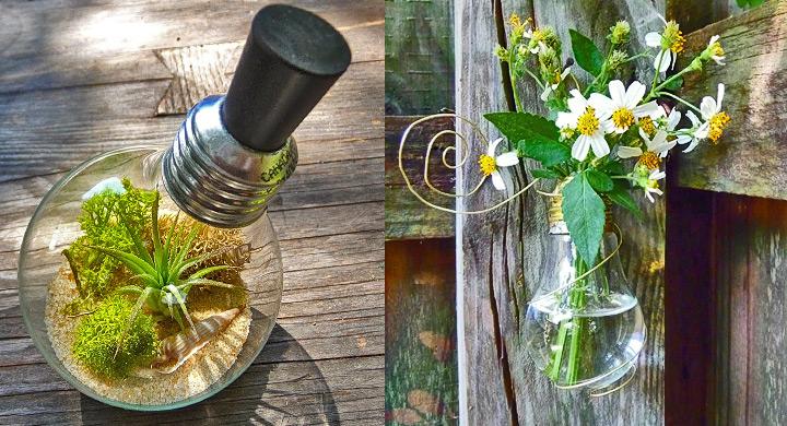 Reciclar bombillas en el jardin for Jardines reciclados