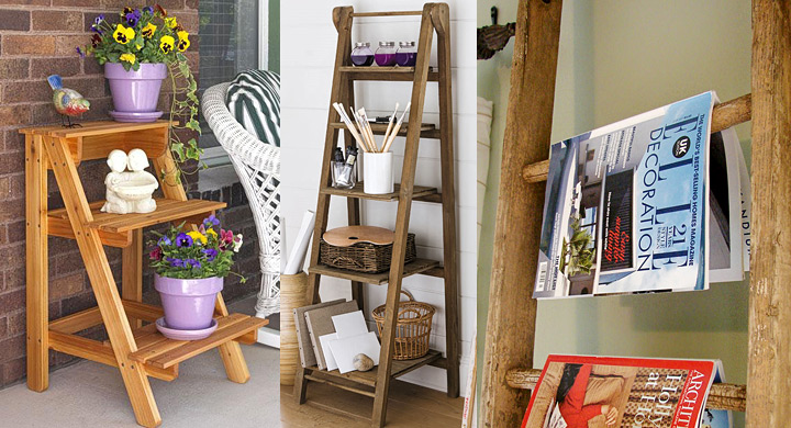 Ideas para reutilizar viejas escaleras de madera for Reciclar estanterias viejas