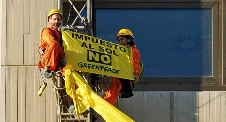 Protesta Greenpeace Impuesto al sol