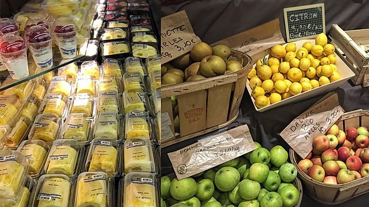 Frutas con y sin embalaje