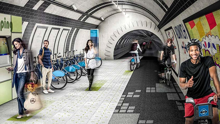 Tunel-subterraneo-metro-Londres-bicicletas