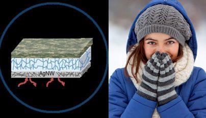 Chica abrigada paisaje nevado